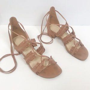 Nine West pink fringe ankle tie up sandal flat 421